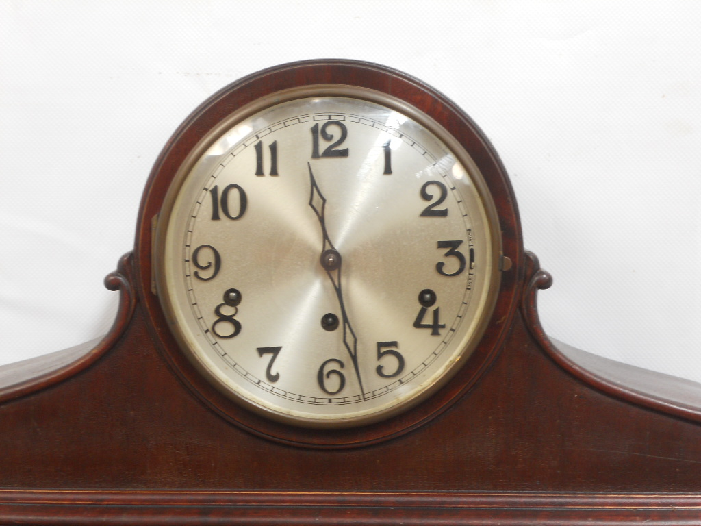 Mahogany Napoleon Style Westminster Chime Mantle Clock